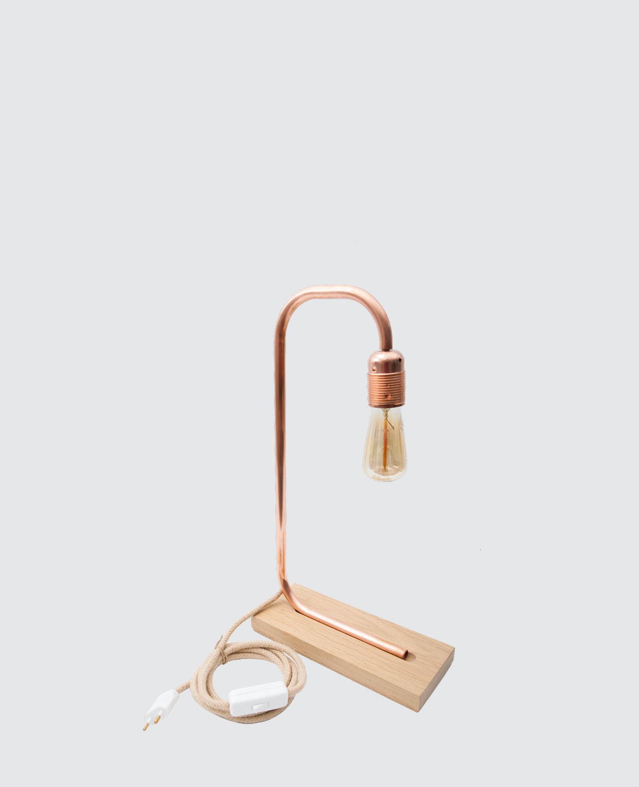 Préférence Lampe cuivre et chanvre bois massif Français Wood & Scrap PZ99
